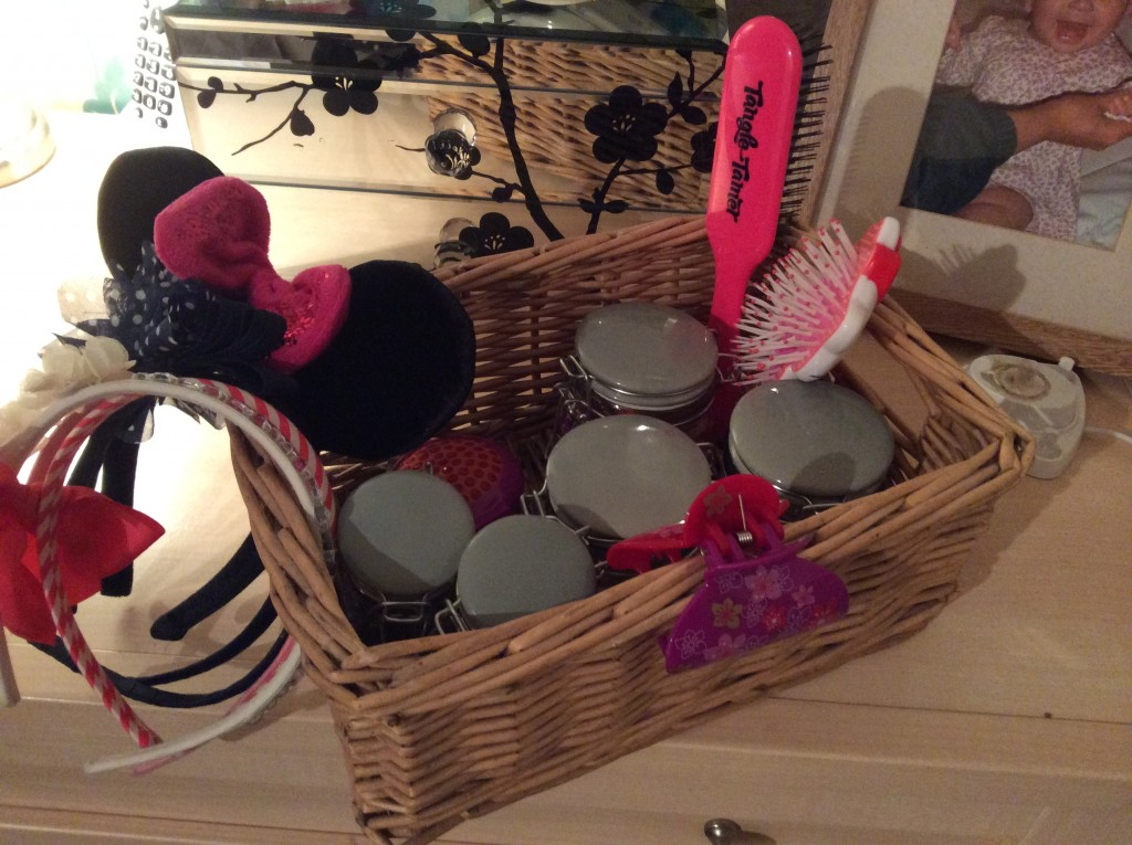 Basket full with all the girls hair accessories