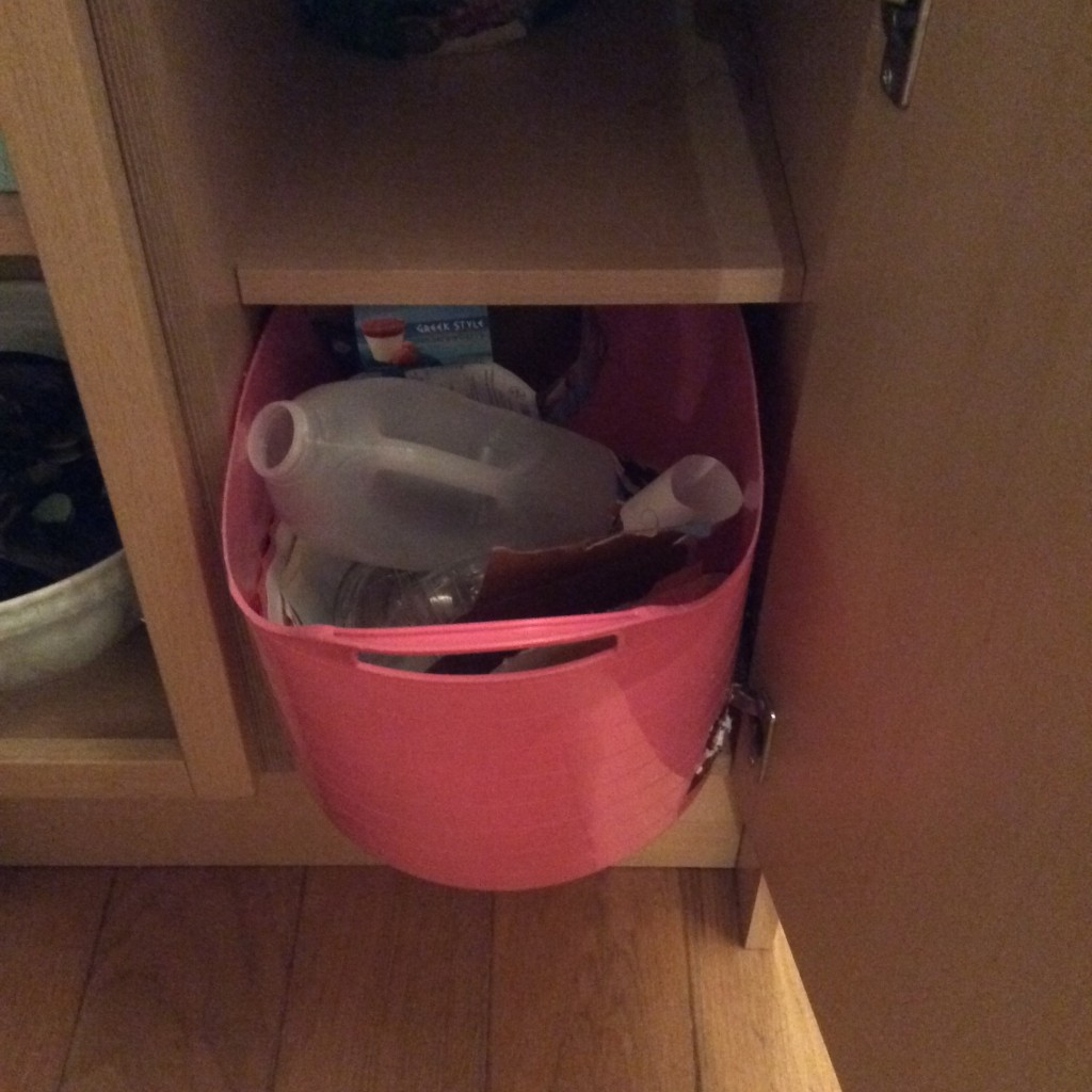 The recycling bucket in the cupboard, doing its job perfectly!