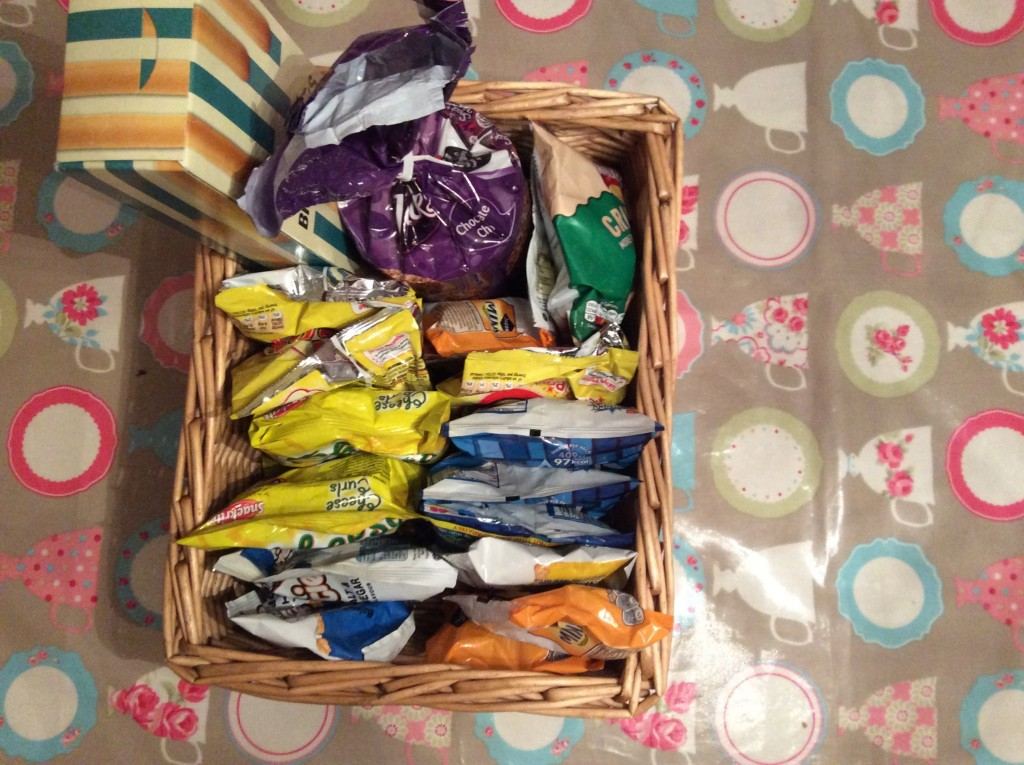 This basket holds all outnumbered crisps & s few other snacks