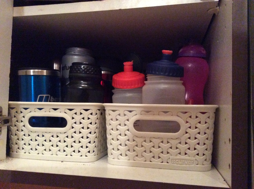 Drink bottles in cupboard