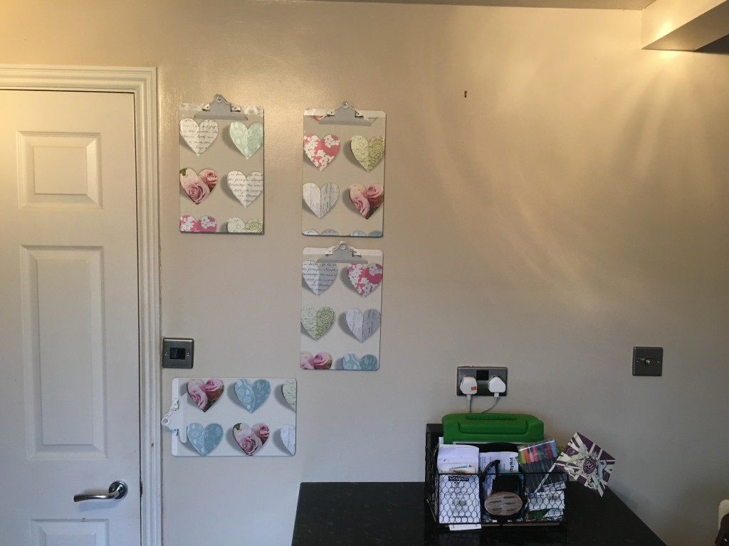 The finished clipboards in the wall