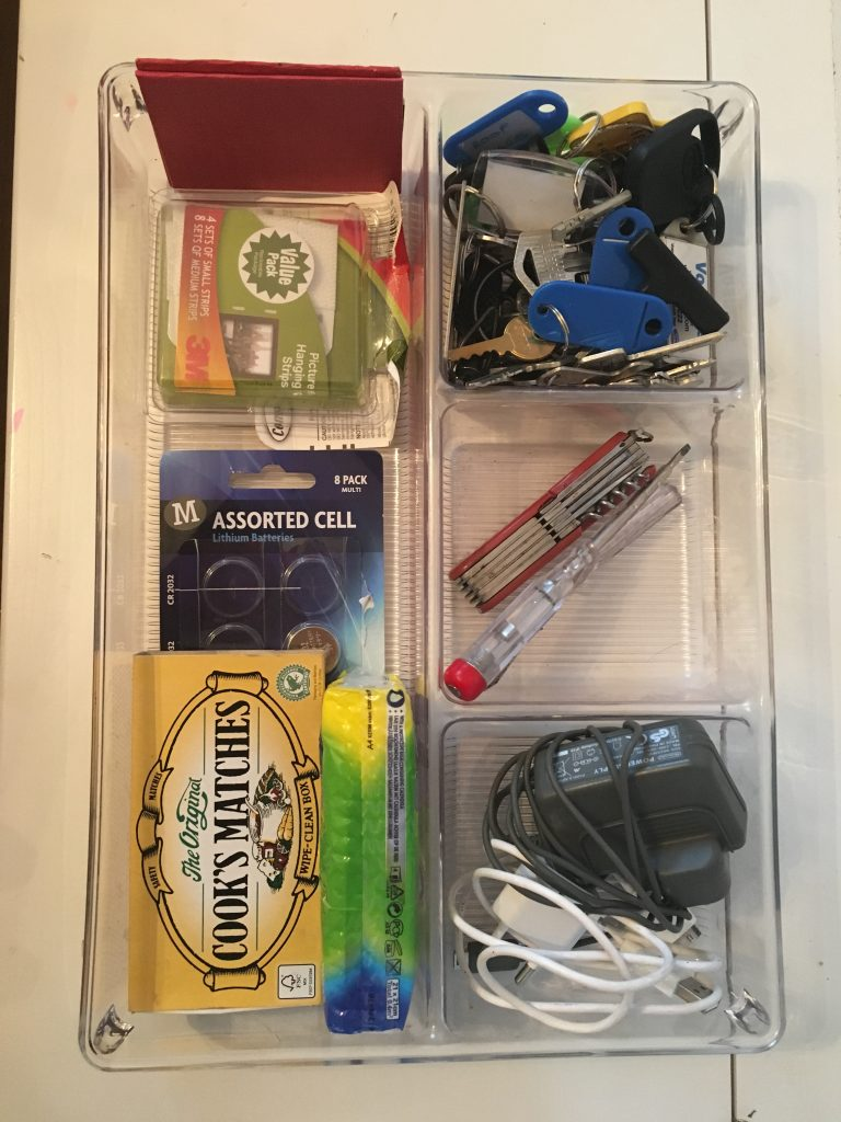 Organised junk drawer organiser