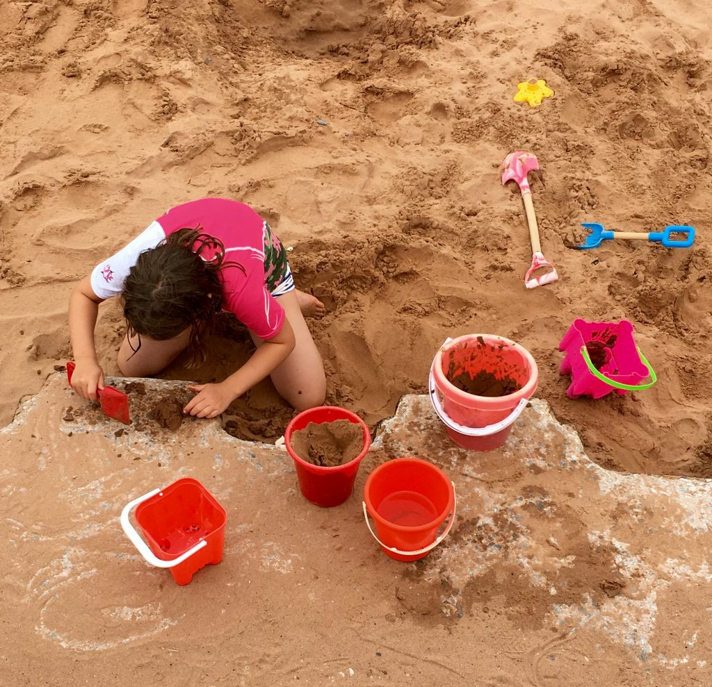 Sand cakes at Broadsands