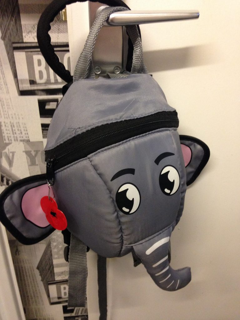 This is the lovely elephant bag that Care uses every day
