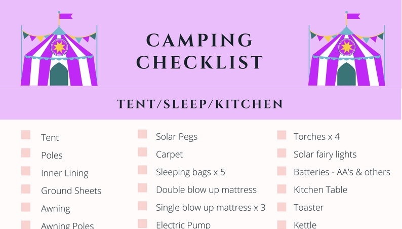 A sneak peak of my camping checklist