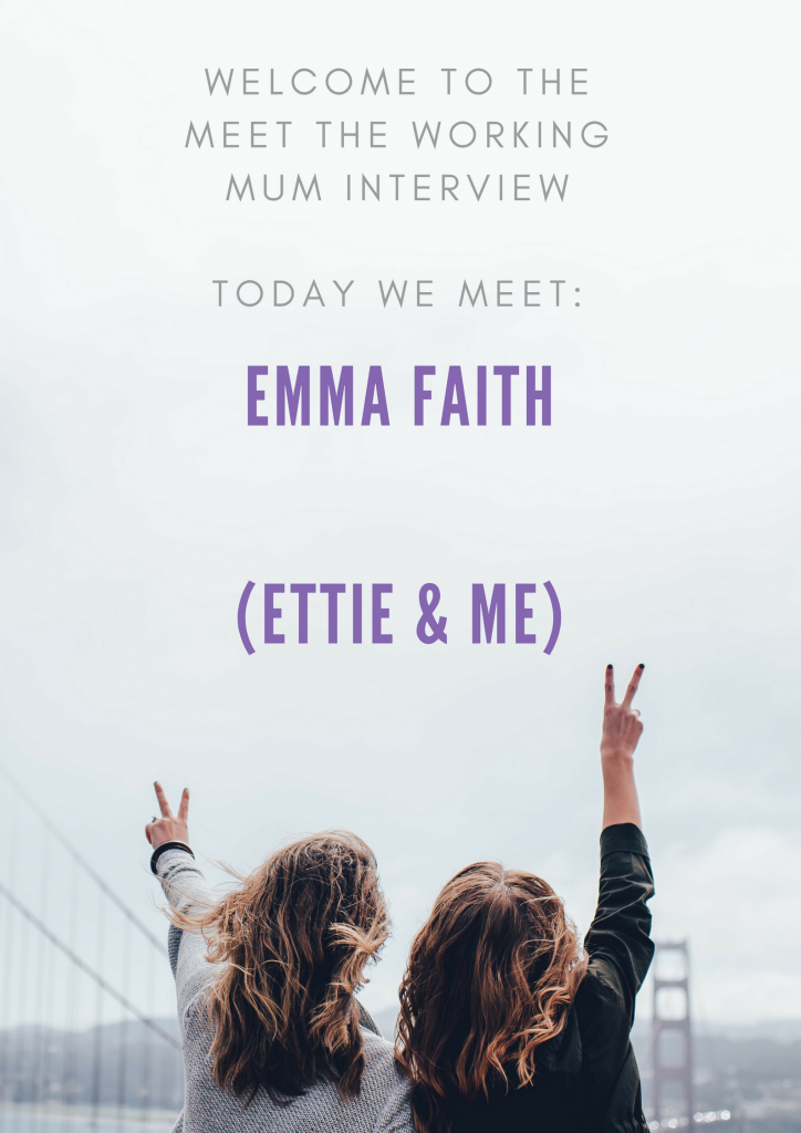Two girls facing away doing the v sign introducing Emma Faith as this weeks Meet the Working Mum